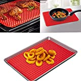 10 pcs Pyramid Silicone Baking Mat Non-stick & Heat Resistant, FDA Approved Material, Red