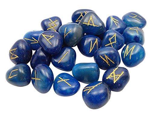 HARMONIZE Tumbled Azul Ágata Piedra con Don Espiritual Curación De Cristal Runa Alfabetos Símbolo De Reiki