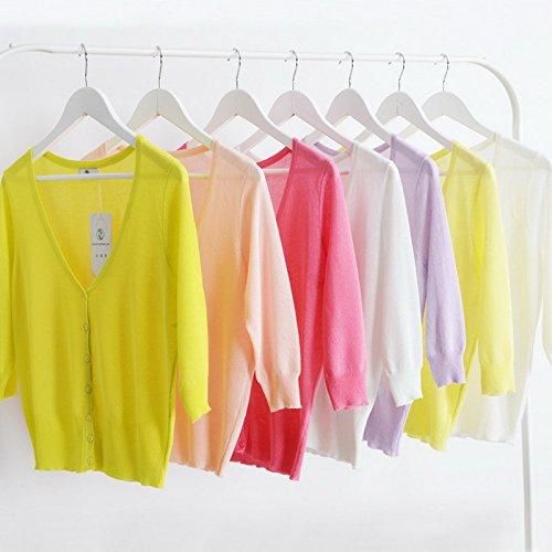Smile YKK Cardigan Uni Transparent Couleur Bonbon Manches Longue de Soleil de Beach Pour Femme Orange