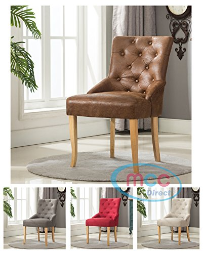 Linen Fabric Accent Chair Dining Chair For Home & Commercial Restaurants [Brown* Grey* Red* Cream*] (Brown)