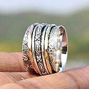 Anillos de plata de banda ancha para mujer,Three Tone Spinner Band Rings, Anxiety Ring for Meditaion, 925 Ster