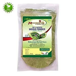 Malvaniya Herbal Care 100% Natural Indigo Leaves (Indigofera Tinctoria) Powder - 227 Grams