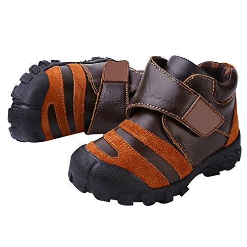 Taiycyxgan Baby Jungen Lederschuhe Kinder koreanischen Mischfarben warme Sportschuhe Sneakers Laufenschuhe Schwarz Braun Braun