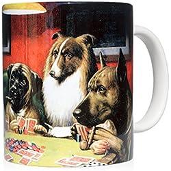 """Taza mug desayuno de cerámica blanca 32 cl. con impresión de obra de arte cuadro """"Un farol"""" autor C.M. Coolidge"""