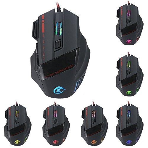 efanr Professional Ergonomische USB Wired Gaming Maus, DPI-Einstellungen bis zu 5500dpi 7Farben Cool LED Hintergrundbeleuchtung 7Tasten Mäuse für Laptop PC Computer Gamer Schwarz Mickey-mouse-vinyl-aufkleber