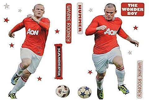 XL Set: Wandtattoo / Sticker - Wayne Rooney Fußballer - Postersticker - Wandsticker Aufkleber Poster Fußball Manchester United