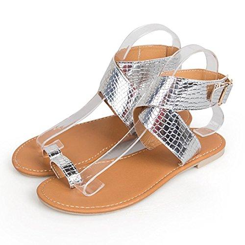 Beikoard promozione della moda sandali donna taco sandali infradito donna con cinturino incrociato a vita bassa (argento, 41)
