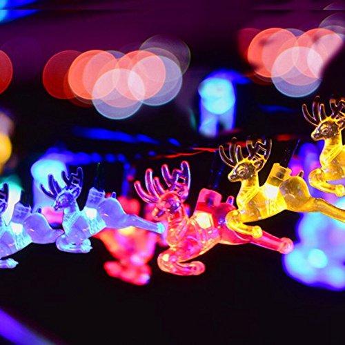 Elch-outdoor-beleuchtung (JAYLONG Solar String Lichter Mit 20 LED Elch Outdoor-Landschaft Lampe Für Weg, Pfad, Garten, Rasen, Hof, Korridor, Terrasse, Veranda Mit 7 Farben Wireless, Wasserdicht)