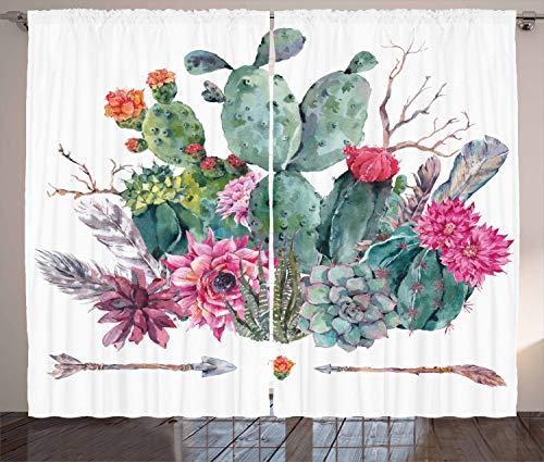 ABAKUHAUS Kaktus Rustikaler Gardine, Blumenstrauß in Boho Style-Pfeil, Schlafzimmer Kräuselband Vorhang mit Schlaufen und Haken, 280 x 225 cm, Mehrfarbig