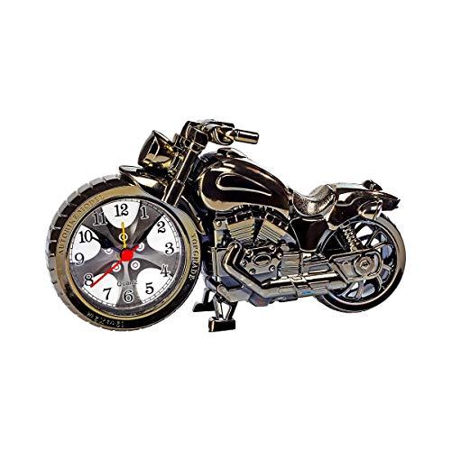TRI Wecker Motorrad, Uhr Biker, Motorrad, Harley Street, Metalleffekt, Weckfunktion, Sekundenzeiger, Motorraddeko, schwarz, Kunststoff, 22 x 5 x 12 cm