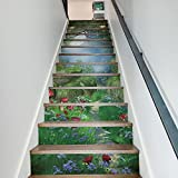 Persönlichkeit 3D Treppen Aufkleber Magic Forest Renovierungs Treppen Kreative Dekoration 13 Stücke (39 4 Zoll × 7 Zoll)