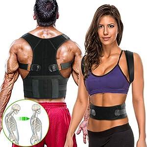 WOSTOO Rückenstützgürtel & Geradehalter zur -Haltungstrainer & Rückengürtel Gegen Rückenschmerzen-Stark Gepolsterte Gurte für Frauen und Männer, Richtmaschine Schulter L