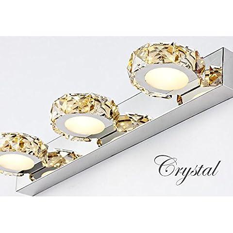 Fuf.Mcl Specchio luce anteriore Specchio bagno Lampada led anti-nebbia ,3 testa impermeabile, cristallo (Ambra Specchio)