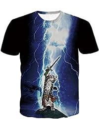 Logobeing Chicos Hombres 3D Impresión Verano Manga Corta Camisas de Gato  Blusa Camiseta Superior a59c0332bad51