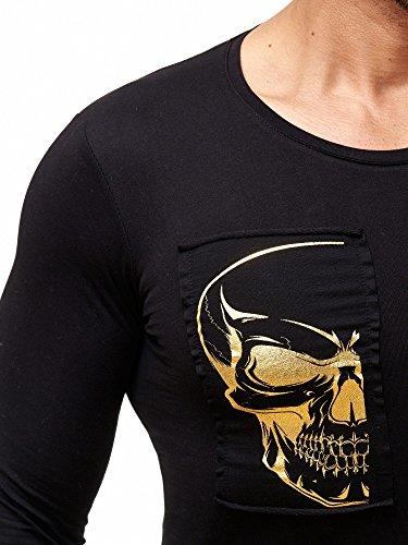 Redbridge Langarmshirt Herren Pullover Totenkopf Motiv Langarm Shirt RBC M2121 Schwarz