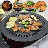 WCNMMD Runde Eisen BBQ Grillplatte Grill Antihaft-Pfanne Set mit Halter Set Gesunde Rauchlose Rösten Outdoor Kochwerkzeug