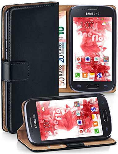 moex Cover a Libretto Compatibile con Samsung Galaxy Ace 3 | Fessura Carta + Soldi, Supporto, Nero