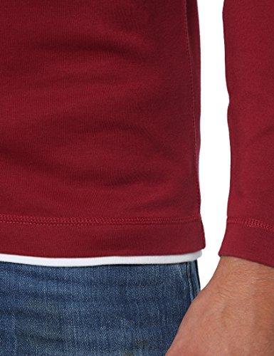 Lower East Herren Slim Fit Langarm-Shirt mit Kapuze, in verschiedenen Farben Rot (Rot)