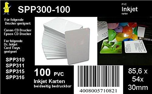 Pvc-karten-drucker (100 weiße Inkjet PVC Karten für Kartendrucker - beidseitig bedruckbar von Dr. Inkjet)