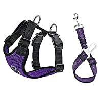 Lukovee Dog Safety Vest Harness with Seatbelt, Dog Car Harness Seat Belt Adjustable Pet Harnesses Double Breathable Mesh Fabric with Car Vehicle Connector Strap for Dog (X-Small, Purple Seatbelt)