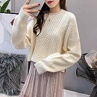 DEED Frauen - Herbst Und Winter Lose Einfarbig Kurze Pullover, Pullover, Jacke, Langärmelige Twist Pullover Rundhals Pullover Frauen