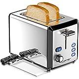 LOFTER 2 Scheiben Toaster Edelstahl Spiegel mit LED Countdown Anzeige 800W, Breit Schlitz, 6 Bräunungsstufen,...