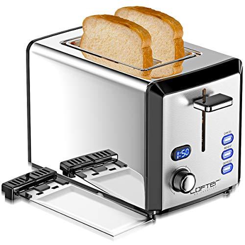 LOFTER 2 Scheiben Toaster Edelstahl Spiegel mit LED...