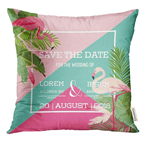 Throw Pillow Cover Green Miami Tropical Flowers and Flamingo Summer Exotic Floral in Aloha Decorative Pillow Case Home Decor Square 18x18 Inches Pillowcase (In Happy Miami Halloween)