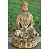 buddha brunnen mit beleuchtung und drehender kugel garten. Black Bedroom Furniture Sets. Home Design Ideas