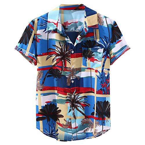 Hawaiihemd Männer Hawaii-Print T-Shirt Sommer Kurzarm Leicht Cool Top für Jungen Boys Brushed Cotton Hose