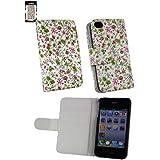 Emartbuy ® Apple Iphone 4S 4G 4Gs Hd Luxury Wallet Case / Cover / Pouch Floral Pink / Grün Mit CRotit Card Slots