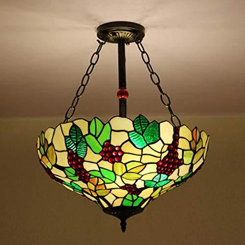 Yjmgrowing Tiffany-Stil Glasmalerei Inverted Deckenpendelleuchte für Esszimmer 16-Zoll-3-Licht-Pendelleuchte für Cafe Bar Beleuchtung,E27 (40 * 55 cm),A (40-zoll-led-licht Bar)