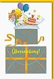 Karte Gutschein allgemein offenes Paket mit Torte Luftballons Blumenstrauss Briefumschlag orange - Liefermenge 6 Stück