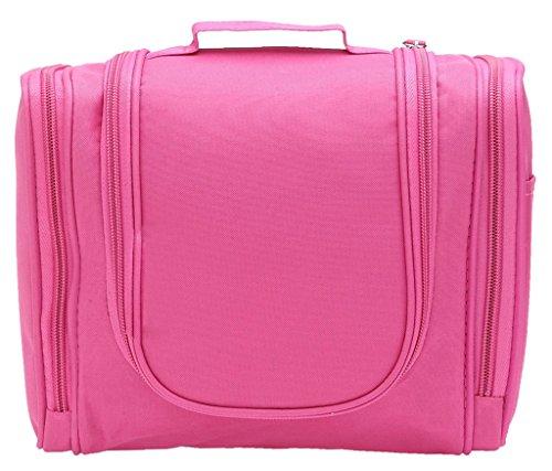 Toiletry Bags Hipiwe-Organizer da viaggio per trucco da donna o da uomo per barba, lavabile Bianco Rosa brillante