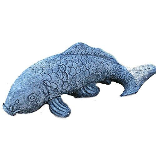 Steinfigur Koi Fisch Steinkoi Deko Garten Tierfigur Gartenfiguren 48cm Steinguss