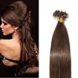 Extensions Keratine Pose a Chaud Extension Cheveux Naturel 100 Mèches/50g #04 Châtain - Pre Bonded Nail U Tip Remy Human Hair Extensions - 40cm