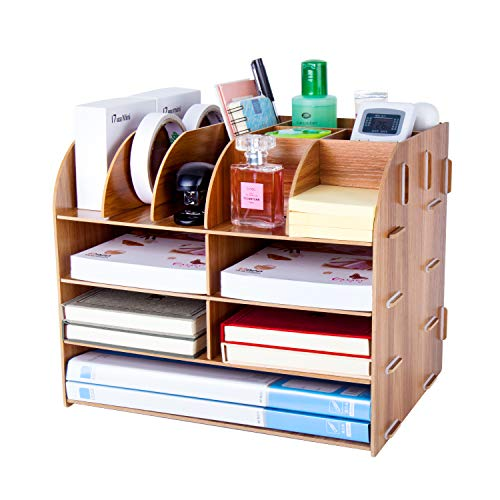 Desk Organiser, Lesfit Multifunctional Cool Modern Square Makeup Wooden Stationary Desk Tidy Compact Stylish Desktop Storage for Home Office Supplies