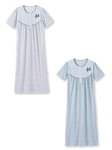 Lingerelle - Chemises de nuit manches courtes, lot de 2 1 fond blanc + 1 fond bleu