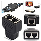 RJ45 Splitter Adapter, 1 bis 2 Dual Female Port CAT5 / CAT 6 LAN Ethernet Sockt