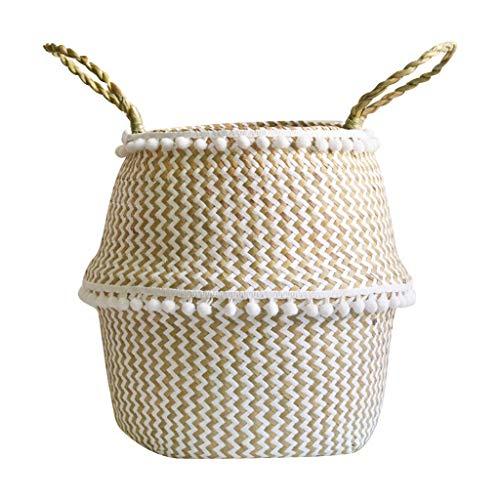 Hukz Natürlicher Handgewebt Seegras Korb mit Griff, Faltbare Seagrass Basket Wäschekorb Picknickkorb Blumentöpfe, Spielzeugkasten Kaminkorb Aufbewahrungskorb für Kinderzimmer Badezimmer