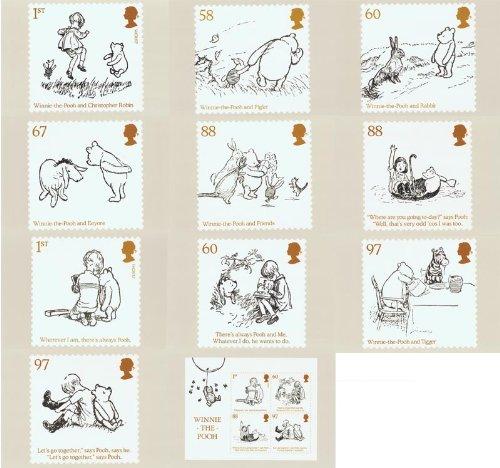Winnie The Pooh timbres, paquets, Mini Feuilles de présentation, Phq/cartes postales 2010 PHQ/Postcards