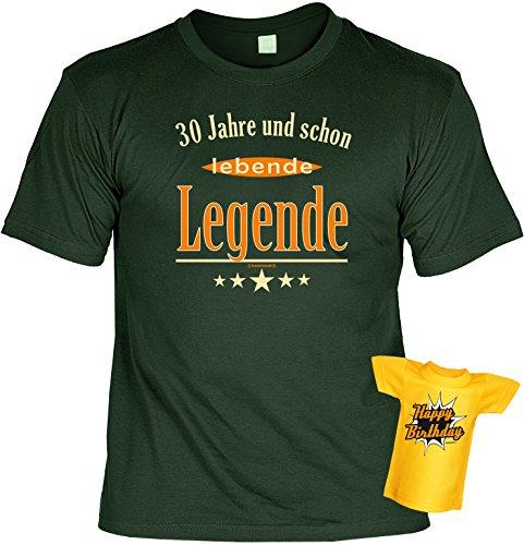 Geburtstags-Fun-Shirt-Set inkl. Mini-Shirt/Flaschendeko: 30 Jahre und schon lebende Legende Dunkelgrün