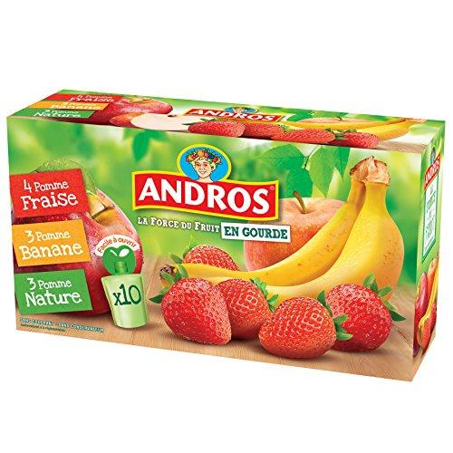 ANDROS  Compotes de fruits en gourdes 3 variétés panachées 10x90g - Lot de 3