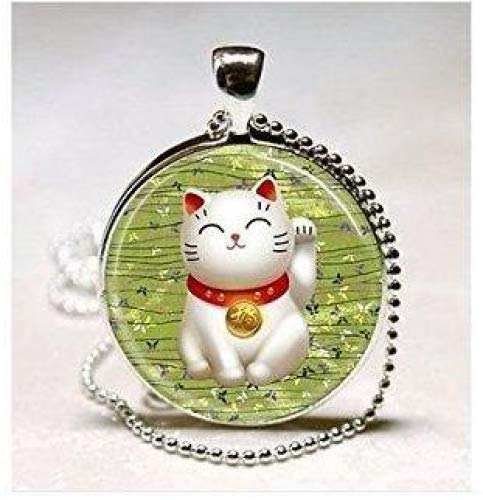 Lucky Cat Halskette grün Maneki Neko Glücksbringer Japanische Kunst Anhänger