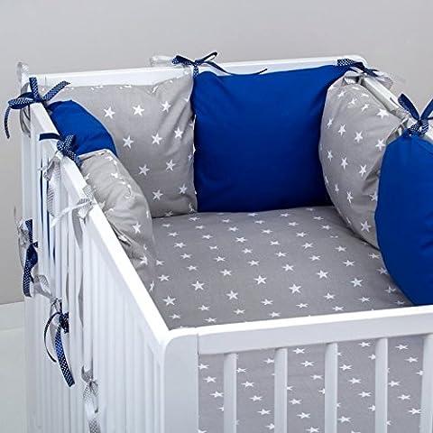 Set 10pcs ropa cama de bebé: Tour 6cojines (tamaño grande), edredón Bebé, Funda de edredón, almohada, funda de almohada. Gris Etoiles azul