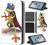 Hülle Beidseitig LG G6 LG G6 Hülle von CoverHeld Premium Flipcover Schutzhülle Flip Case Motiv (575 Frosch mit Umhang Grün Blau Rot Cartoon)