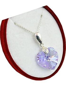 Crystals&Stones **Herz** 18 mm *Violet AB* mit Silberkette aus 925 Silber mit original Swarovski® Elements Anhänger...