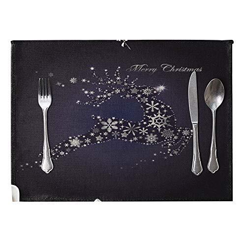 danigrefinb Weihnachten Muster Leinen Wärmedämmung Matte Tisch-Sets Küche Esstisch Decor bunt, 6Stück 9# (9 Stück Runder Esstisch Set)