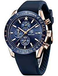 By Benyar, elegante orologio da uomo analogico al quarzo, impermeabile, cinturino in gomma inox, cronografo, orologio da polso da uomo, stile casual, da lavoro, ottimo regalo per uomo…