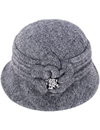 2fd513de614 Women Elegant Classic Ladies Soft Wool Cloche Bucket Floral Winter Cap Hat  A299